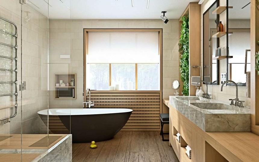 С окном в ванной